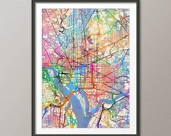 Washington DC Map, City Street Map Art Print (2064)