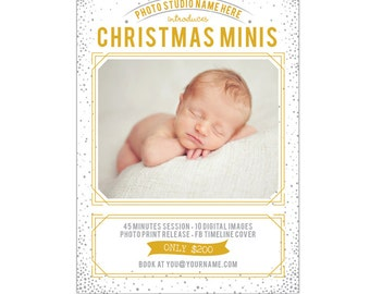 INSTANT DOWNLOAD - Holiday Mini Session template - Photoshop template - E934