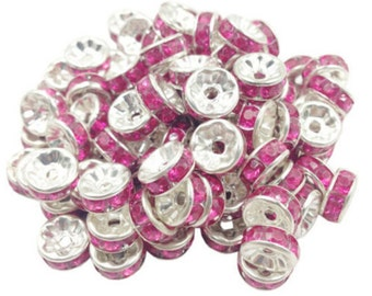 20 Pink Rhinestone Spacer Beads Silver Plated 8 mm Ships From The United States - sp049