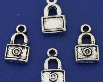 10 Lock Charms Antique Silver Tone 14 x 8 mm Ships From The United States - ts709