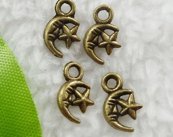 Moon Star Charm, 25 Charms Antique Bronze 12 x 7 mm Double Sided United States - bz318