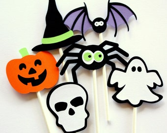Halloween Cupcake Toppers . Halloween Party Cake Toppers . Kids School Halloween Party Decor. Halloween Theme. Trick-or-Treat decorations