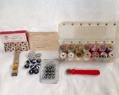 Vintage Lot Of Sewing  Notions Supplies,  Seamtress Silk And Cotton Thread ,  Dress Makers Notions, Rhinestone  Buttons