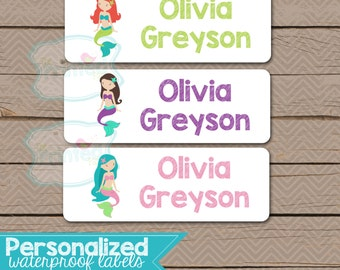 Personalized Waterproof Label Stickers - Perfect for Bottles, Sippy Cups, Daycare, School - Dishwasher Safe - girl - mermaid = 097