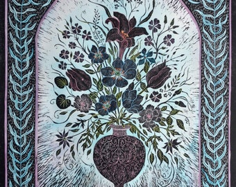 Large hand coloured limited edition woodcut flowers