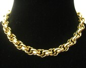 """SALE GIVENCHY 80's Vintage 1/2"""" Wide Chunky Statement Gold Plated Rope Chain Choker with Charm Size GGGG Logo Tag by Clasp."""