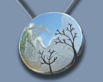 Mountain, Bird, Tree, Pendant, Silver Pendant, Silver Jewelry.