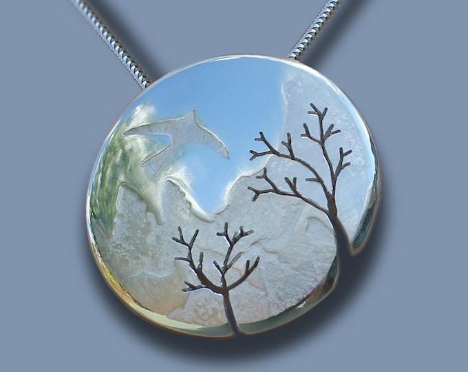 Mountain, Bird, Tree, Pendant, Silver Pendant, Silver Jewelry.