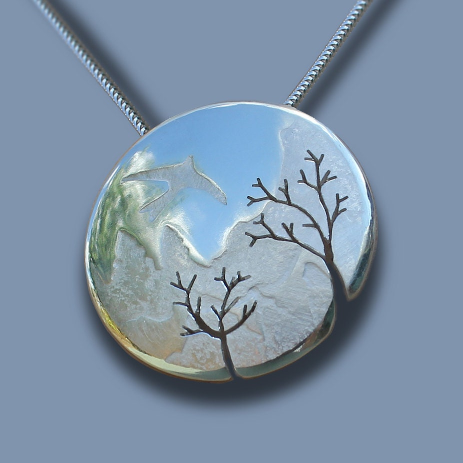 mountain bird tree pendant silver pendant silver jewelry. Black Bedroom Furniture Sets. Home Design Ideas