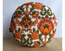 Round Cushion Cover Vintage Retro 60s 70s Orange Psychedelic Fabric