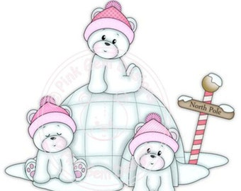 Digi Stamp Igloo Bears. Makes Cute Papercraft and Digital Scrapbooking Projects. Christmas Cards. Baby Polo Bears
