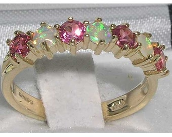 Natural Opal & Pink Tourmaline 9K Yellow Gold 7 Stone Half Eternity Band, Promise Ring - Made in England - Customizable