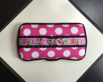 Diaper wipes travel case Minnie Mouse Inspired Hot Pink Black and White polka dot