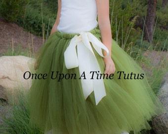 Olive Green Long Tutu Skirt - Little Girl Child Size 12M 2T 3T 4t 5 6 7 8 10 12 Infant Photo Prop Wedding Flower Girl Tulle Skirt Satin Bow