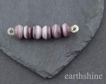 Set 6 plum glass swirl beads. Handmade lampwork.