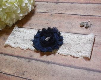 Wedding garter / Navy blue garter / Blue garter/  Something blue / Garter / Lace Garter/ Wedding / Bride / Brides Garter/ Toss Garter