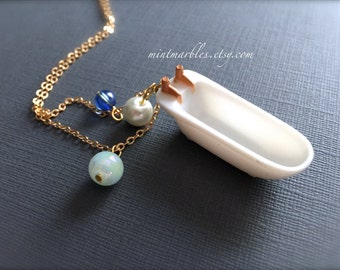 Miniature White Bathtub Necklace. Bubbles. Blue Glass Beads. Spa. Relax. Dollhouse Unique Oddities. Gifts for Her Under 20. Gold Chain.