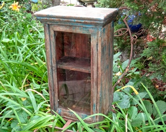 Blue Cabinet, Boho Chic, Wood Shelf, Powder Room, Furniture, Primitive, Hutch, Knick Knack, Curio, Farmhouse, Cupboard, Medicine Chest