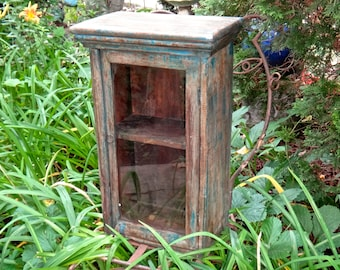 Furniture, Blue Cabinet, Boho Chic, Wood Shelf, Powder Room, Primitive, Hutch, Knick Knack, Curio, Farmhouse, Cupboard, Medicine Chest