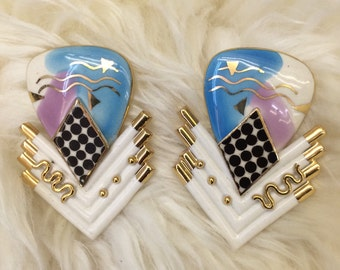80s new wave porcelain wearable art earrings