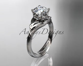 14kt  white gold diamond flower, leaf and vine  wedding ring,engagement ring ADLR240