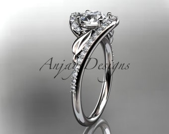"""14k white gold diamond leaf and vine wedding ring, engagement ring with a """"Forever One"""" Moissanite center stone ADLR317"""