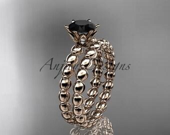 14k rose gold diamond wedding ring, engagement set with a Black Diamond center stone ADLR34S