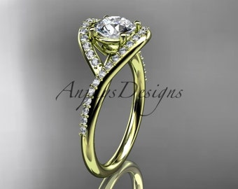 "14kt yellow gold diamond wedding ring, engagement ring with a ""Forever One"" Moissanite center stone ADLR383"