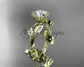 "14kt yellow gold diamond leaf and vine wedding ring,engagement ring with a ""Forever One"" Moissanite center stone ADLR20A"