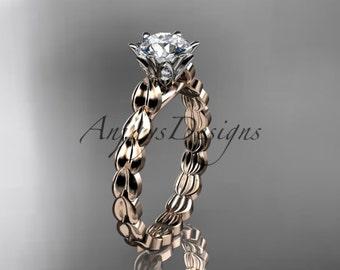 14k rose gold diamond vine and leaf wedding ring, engagement ring. ADLR35