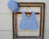 Baby Boy outfit set- BLUE VEST and HAT,  Baby blue Vest and Hat, Ringbearer outfit, photo prop for boy (sizes available 6 to 18 months)