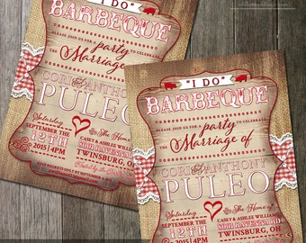I do BBQ Shower Invitation for Weddings, Bridal Shower, Rehearsal Dinner, Engagement Party - Burlap Country Rustic Party Invite