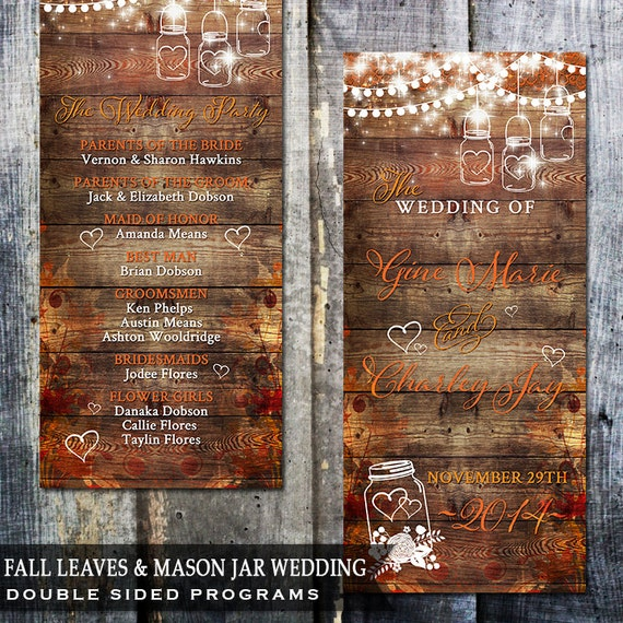 Rustic Fall Leaves Mason Jar Wedding Program