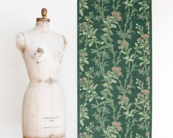 Vintage Floral Wallpaper Roll on Matt Green Background - Mid Century