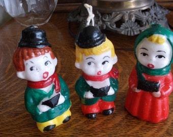 Lower Price Set of 3 Vintage Candles Christmas Carolers 2 Men 1 Woman