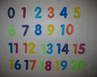 Felt Numbers 1-10, 1-12, 1-20, 1-25, etc. Advent/Choose Numbers 2""