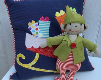 PDF Pattern - Elfie Jones and his Sleigh pocket cushion