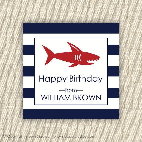 personalized gift tag- label- sticker-shark