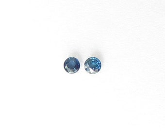 Genuine Blue Sapphire, Round Cut, Lot (2) of 0.44 carat