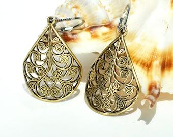 Gold Filigree Earrings, Gold Drop Earrings, Gold Dangle Earrings, Womens Jewelry