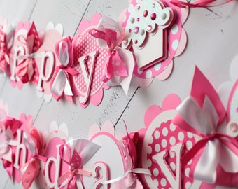 Cupcake Happy Birthday Banner Pink, Light Pink, White