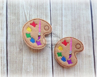 Paint clip Palette hair clip Back to School Supply Art Brush Embroidered Felt Hair Clippies. Pick one or two. Pick Left side or Right.