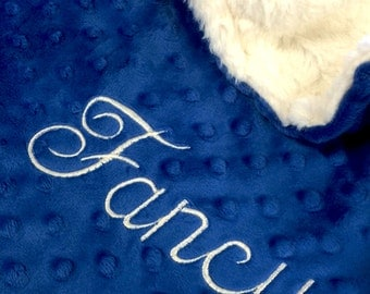 Pet Blanket Cream and Midnight Blue Minky, Personalized Dog Blanket, Personalized Cat Blanket