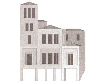 proposal for the east end of Place de l'Église, Monpazier – limited edition archival print
