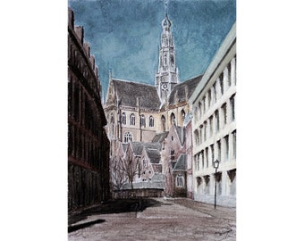St Bavo from Damstraat, Haarlem — limited edition archival print