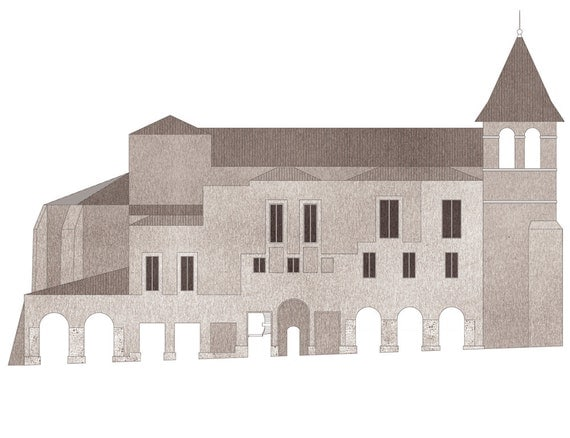 proposal for the north flank of Saint Dominique, Monpazier — limited edition archival mounted print