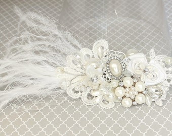 Bridal hairpiece- Off White Bridal Comb- Wedding Haircomb-Statement Bridal hairpiece- Birdcage-Feather Bridal Comb- Wedding Hair Accessories