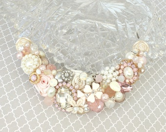 Soft Pink Bridal Bib- Blush Pearl Statement Necklace-Light Rose Bridal Bib-Whisper Pink Bib Necklace-Pearl and Rhinestone Statement Necklace