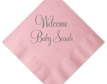 Welcome Baby Personalized Baby Shower Napkins