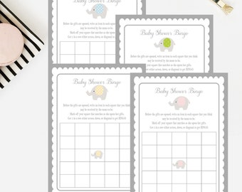 Elephant Baby Shower Bingo - 5x7 - Printable or Printed - Free Shipping - Pink, Blue, Green, Yellow